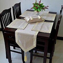 LD&P Hochwertige Esstisch Flagge Couchtisch Handtuch Tisch Läufer Hochzeit Party Tisch,Beige,33*300cm
