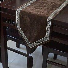 LD&P Hochwertige Esstisch Flagge Couchtisch Handtuch Tisch Läufer Hochzeit Party Tisch,Coffee color,33*250cm