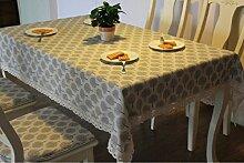 LD&P Hochwertige verdickte Baumwolle und Leinen Esstisch Couchtisch, TV Schrank, runde Tischdecke Staubdicht Home Decoration Cover Tuch,Beige,140*220cm