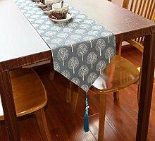 LD&P Japanische Art frische Leinen gedruckte Leinwand Tischläufer für Tisch, TV-Schrank, Schuhschrank Dekoration Hotel Bettläufer,A,30*180cm