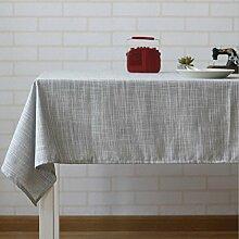 LD&P Japanische Leinen Tischdecke Couchtisch, runder Tisch, rechteckige Tisch Wohnkultur Tischdecke Party Sommer Picknick Tischdecke,D,140*180cm