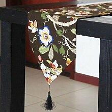 LD&P Klassische High-End-Tischläufer Bambus-Baumwoll-Vogel-Tisch, Couchtisch Läufer Hochzeitsfeier Geschenk Mehrzweck-Ornament,coffee,33*120cm