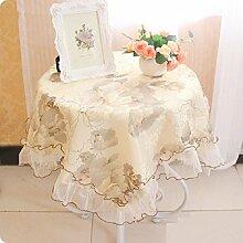 LD&P Lace Spitze Tischdecke Tischdecke, Couchtisch Tisch Tisch Tischdecke Multifunktions Tischdecke, Luxus europäischen klassischen Tischdecke,A,60*60cm