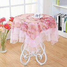 LD&P Lace Staubdicht Tischdecke für Küche Dinning Pub Tabletop Dekoration Multi-Size-Mehrzweck-Handtuch,Pink,90*90cm