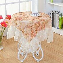 LD&P Lace Staubdicht Tischdecke für Küche Dinning Pub Tabletop Dekoration Multi-Size-Mehrzweck-Handtuch,Coffee color,90*90cm