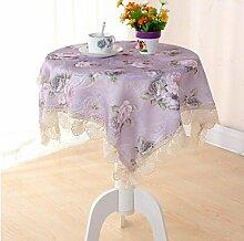 LD&P Lila Spitze Beistelltisch Stoff Multifunktionstuch Bar Tischdecke Verschiedene Größen,purple, 130*180cm