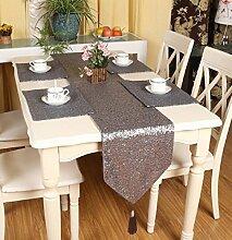 LD&P Luxus monochrome Pailletten Mode glänzend Tischläufer für rustikale Hochzeit Braut Dusche Graduierung Party Tischdekoration,gray,33*200cm