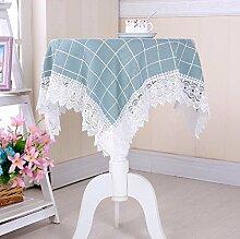 LD&P Mehrzweck Handtuch Couchtisch Tuch Nachttisch Schrank Staub Abdeckung Spitze Home Dekoration Tisch Tischdecke,blue,85*85cm