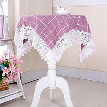 LD&P Mehrzweck Handtuch Couchtisch Tuch Nachttisch Schrank Staub Abdeckung Spitze Home Dekoration Tisch Tischdecke,purple,105*155cm