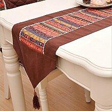 LD&P Mode einfache braune Tisch Fahne Tisch Couchtisch, Bett Tischläufer Baumwollgewebe Tischplatte Dekoration Wohnkultur,Sharp corners,32*180cm