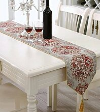 LD&P Mode High - End - Luxus Stickerei Tisch Flagge Couchtisch Tisch Läufer Bett Flagge, Bett Handtuch, Tischdecke Tuch,red,28*120cm