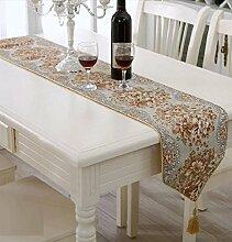 LD&P Mode High - End - Luxus Stickerei Tisch Flagge Couchtisch Tisch Läufer Bett Flagge, Bett Handtuch, Tischdecke Tuch,yellow,28*180cm