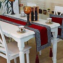LD&P Mode Home Tischläufer Hochwertige handgenähte Schnecken Tisch Couchtisch Fahne Tuch Bett Handtuch Hotel Tischdekoration Tuch,red,32*200cm