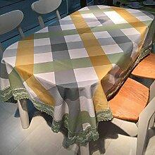 LD&P Moderne einfache Baumwoll-Leinwand Tischdecke Spitze Staubdicht Tischdecke für Küche Essen Pub Tisch Top Dekoration Tischdecke,green,120*120cm