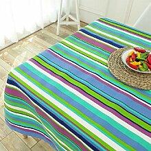LD&P Moderne einfache gestreifte Leinwand Tischdecke Geschäft Sitzung Tisch Tisch Tuch rechteckige Couchtisch Staubdicht Tischdecke,blue,145*200cm