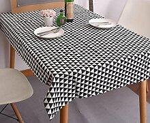 LD&P Moderne einfache Tischdecke schwarz-weiß geometrische Mahlzeit Tischdecke Baumwolle Leinen Kopf Schrank Deckel Handtuch Haus Dekoration Mehrzweck-Deckel Tuch,E,140*140CM
