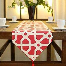 LD&P Moderne Gartentischläufer Hotel Heimtextilien für Tisch, Hochzeit, Party, Geschenk Tischdekoration,red,33*200cm