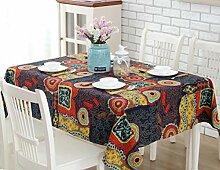 LD&P Nationale Windfarbe Baumwolle und Leinen Tischdecke Leinen Tischdecke Heimtextilien Tischdecke Verwendet: Hochzeit, Restaurant oder Bankett,A,60*60CM