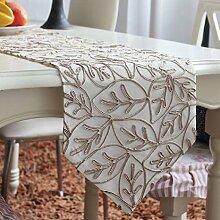 LD&P Net Garn Weben Muster Mode Tisch Läufer Tisch Couchtisch TV Schrank Hause wilde Dekoration,Beige,32*220cm