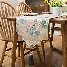 LD&P Neue europäische Stil Tischläufer grün American Pastoral Wind Jacquard Bett Bettzeug TV Schrank Tisch Couchtisch Flagge,green,35*228cm
