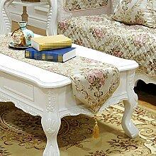 LD&P Neue Tischläufer europäischen modernen Luxus geprägt Jacquard Tisch, Bett, Couchtisch Tischläufer Stickerei Hochzeit Partei Party Dekoration,Beige,35*220cm