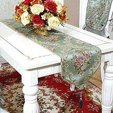 LD&P Neue Tischläufer europäischen modernen Luxus geprägt Jacquard Tisch, Bett, Couchtisch Tischläufer Stickerei Hochzeit Partei Party Dekoration,blue,35*220cm