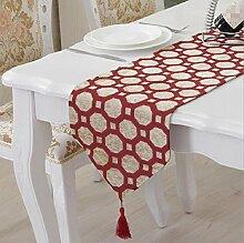 LD&P Neuer Leinen Tisch Läufer Couchtisch Läufer Haus Dekoration Stoff jede Gelegenheit achteckigen Tisch Flagge,red,32*250cm