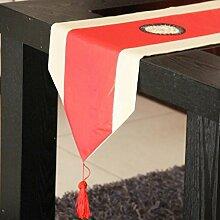 LD&P Polyester-Faser-Stickerei-Tabellen-Läufer-Art- und Weisetee-Tabellen-Tuch-Tabellen-Tuch-Tabellen-Läufer-Tee-Haus-Bett-dekorative Abdeckung,A,33*130cm