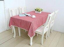 LD&P Rechteckige Baumwolle und Leinen Tischdecke Spitze Staubdicht Tischdecke für Küche Essen Pub Tischplatte Dekoration,red,140*220cm