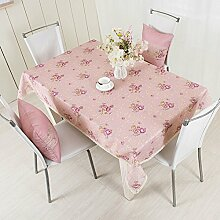 LD&P Rechteckige neue rosa Tischdecke Couchtisch Küche Esstischdekoration Staubdicht / Antifouling Tischdecke,Pink,130*170cm
