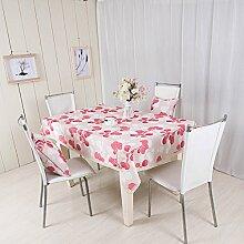 LD&P Rechteckige neue Tischdecke Couchtisch Küche Esstisch Dekoration Staubdicht / Antifouling Rosa Tischdecke,Pink,130*170cm