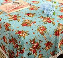 LD&P Retro pastorale Rosen Baumwolle und Leinen Tischdecke Anti - Hochtemperatur - Druck Tischdecke multifunktionale Staubschutz Deckel Tuch,A,60*60CM