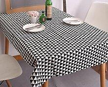 LD&P Schwarz-Weiß-Dreieck geometrische Tischdecke einfache nordische Tischdecke Stoff Tuch Leinen Deckel Handtuch multifunktionalen Deckel Tuch für jede Gelegenheit,A,140*140CM
