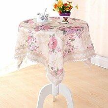 LD&P Spitzenkante Leinen Tischdecke rechteckige Küche Esstisch Outdoor Picknick Camping Multi-size,Pink,150*150cm