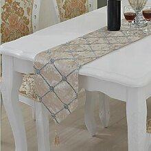 LD&P Stereo Blume Blumen Tisch Flagge einfach modern Box Raster Tisch, Couchtisch, TV-Schrank Tischläufer,B,28*180cm