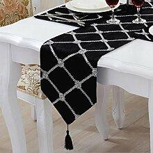LD&P Stereo Blume Blumen Tisch Flagge einfach modern Box Raster Tisch, Couchtisch, TV-Schrank Tischläufer,E,28*210cm