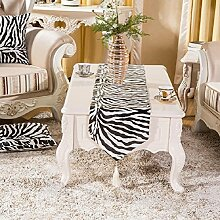LD&P Tier schwarz und weiß Streifen Tischläufer einfache Mode Esstisch Couchtisch kreative Heimtextilien,black,32*180cm