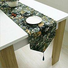 LD&P Tischfahne Baumwolle und Leinen klassische Bettfahne Tischläufer mit Tassel Life Dekoration Tischdecke,A,32*220cm