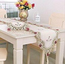 LD&P Tischfahne hohle Stickerei Tisch, TV-Schrank, Couchtisch, Nachttisch Tischläufer Haus Dekoration,A,40*270cm