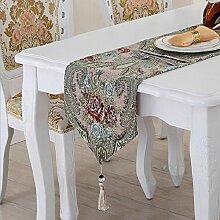 LD&P Tischfahnen Europäische Luxus Tischläufer American Village TV Schrank, Couchtisch Abdeckung, Bett Banner, Bettwäsche,D,32*210cm