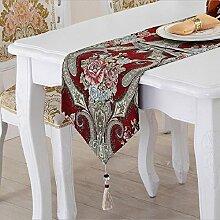 LD&P Tischfahnen Europäische Luxus Tischläufer American Village TV Schrank, Couchtisch Abdeckung, Bett Banner, Bettwäsche,C,32*180cm