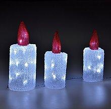 LD Weihnachten Deko 3er Set Acryl LED Kerzen Weihnachten Deko Weihnachts Beleuchtung Figur