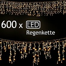 LD Weihnachten Deko 600 LED Lichterkette Weihnachten Regenkette Lichtervorhang Eisregen Beleuchtung Deko