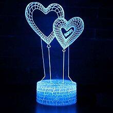 LDAKLE Doppelherzballonthema 3D Lampe