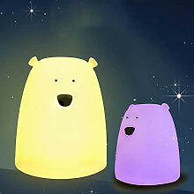 LDDENDP Big White Bear Silikon Bunte Lichter