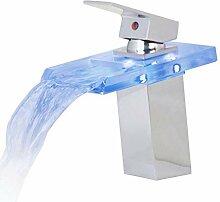 Lddpl LED Bad Wasserhahn Glas Verchromt Wasserfall