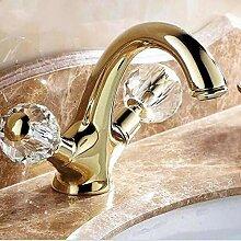 Lddpl Wasserhahn Neu Doppelgriff Kristallgold