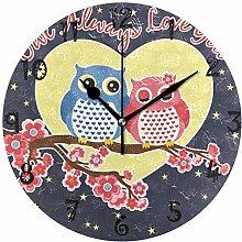 LDIYEU Kunst Liebe Vogel Eule Herz Mond Runde