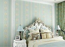 LDMB Tapete Moderne Luxus Fein Vlies geprägt Tapeten Schlafzimmer Wohnzimmer TV Hintergrund 3d Damast Wallpaper Roll-Mural Multi-Color 0.53m * 9.9m = 5.03? , 113 blue bars