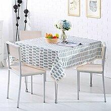 LDONGPENG LD&P Baumwolle und Leinen rechteckige Tischtücher Home Teetabellen Spitze Staubdicht Tischdecke für Küche Dinning Pub Tischplatte Dekoration,D,130*170cm